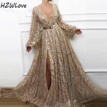Sequined Long Sleeves Prom Dresses With Sash Deep V neck Front Split Evening Dress Sexy Slit Celebrity Gowns вечернее платье