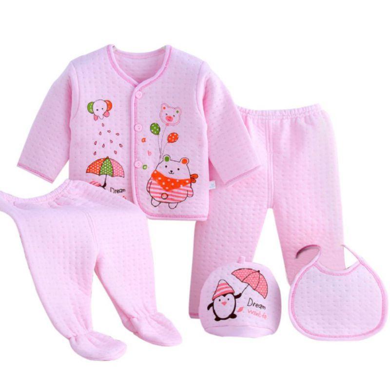 hilittlekids Baby Clothes 5PCS Setsborn Boys Girls Soft Outfit Print Cotton Shirt + Pants