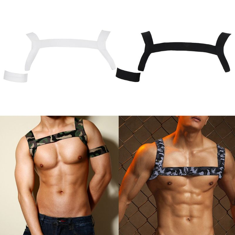 Mens Shoulder Strap Chest Harness Lingerie Camouflage Printed Elastic Halter Belt Muscle Support Brace With Arm Band Clubwear