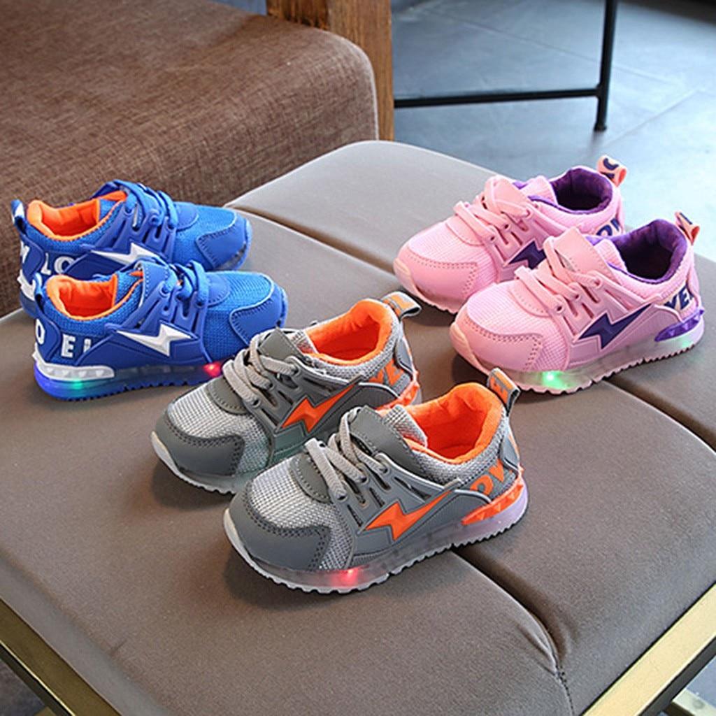 Kids Shoes Child KidGirls BoysLed Light Luminous Sport Mesh Sneakers Outdoor CasaulShoes Children Shoes детская обувь