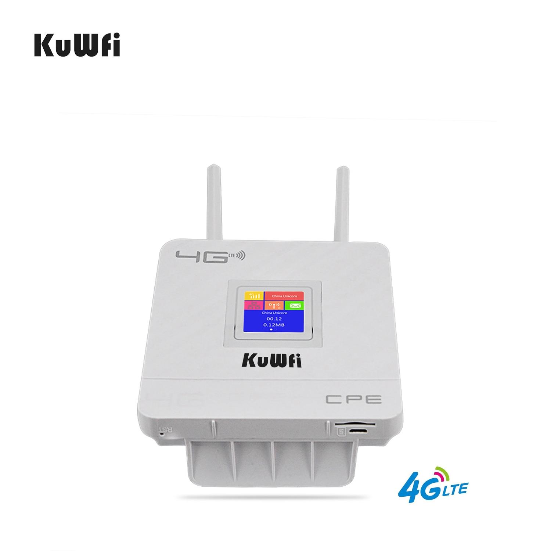 KuWfi 4G Sim Card Wifi Router CAT4 150Mbps Wireless CPE Router 4G LTE FDD/TDD Unlock Router With External Antennas WAN/LAN RJ45 4