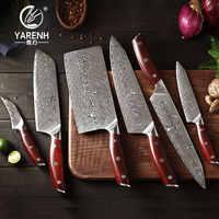 YARENH 6 Piezas Set Cuchillos de Cocina - Cuchillo Japones Cocina Profesional Chef Knife - 67 Capa Acero Damasco Set de Cuchillos - Herramienta de Corte Multiusos - Mango de Palo de Rosa