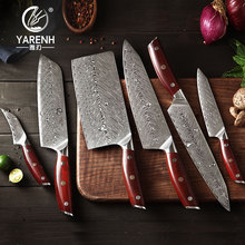 YARENH Chef Knife set 6 Pcs 67 Layers Damascus Steel Cooking Kitchen Set Japan Ultra Sharp Fruit Meat Vegetables Knives