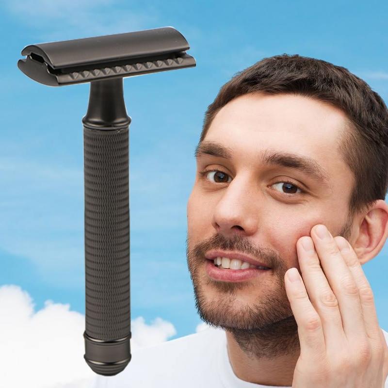 HAWARD Safety Razor Men's Classic Manual Shaver Double Edge Shaving Razor Copper-Zinc Alloy Hair Removal Shaver 10 Shaving Blade