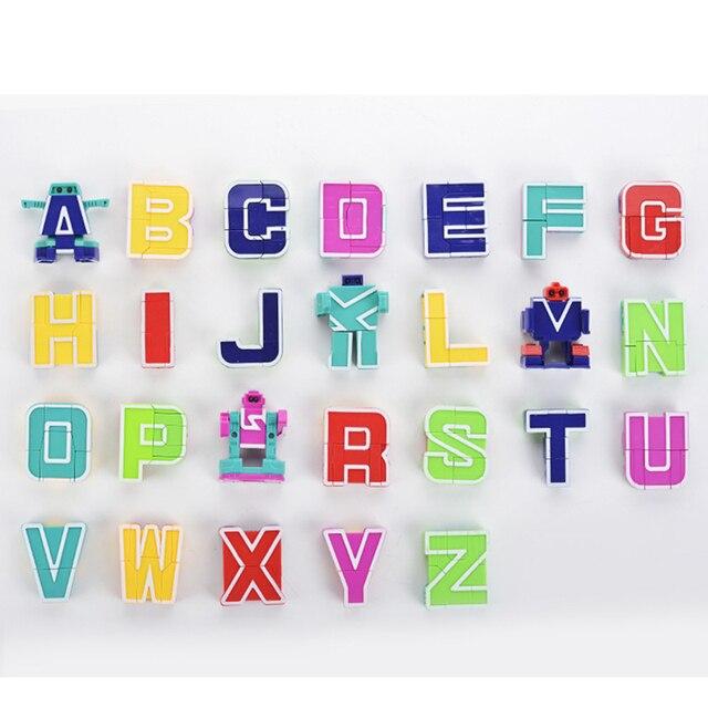 مصغرة 26 قطعة الحروف و 0 إلى 9 أرقام روبوت تشوه الأبجدية التحولات تجميعها هدية عيد ميلاد الاطفال ألعاب تعليمية