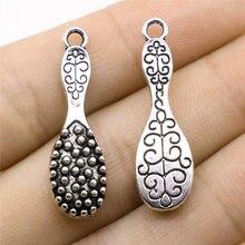 Lotes de joyería de mayoristas Color plata antiguo 10x33mm peine encanto para hacer joyería novia 50 piezas