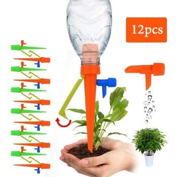 6/12PCS 자동 물방울 관개 관개 시스템 식물을위한 자동 급수 스파이크 꽃 실내 가정용 Waterer 병 물방울