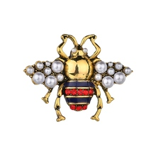 Gariton Fashion Luxury Bee Vintage Zinc Alloy Enamel Cute  Pearl Brooches For Women Insects Pins And