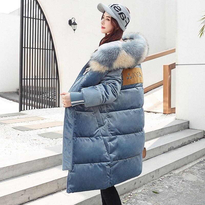 2019 nueva Parkas de invierno para mujer, Chaqueta de algodón de terciopelo dorado, abrigo de invierno con capucha y Cuello de piel para mujer, talla grande g586 - 3