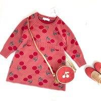 Brand Toddler Girl Fall Winter Knit Sweater Dress Lovely Apple Kids Winter Dresses Baby Long Sleeve Crochet Dress