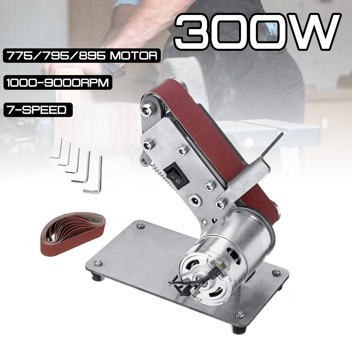 Sander Belt Machine 300W Electric Belt Sander Polishing Grinder Machine Folding Sander Grinding Tool Cutter Edges Sharpener