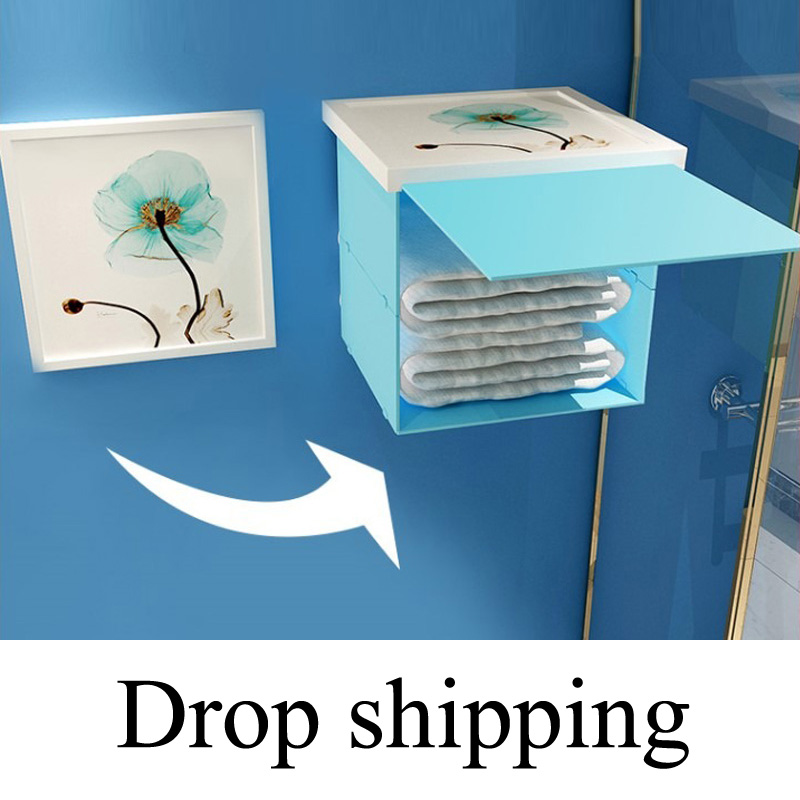 Bathroom Folding Storage Cabinet Bathroom Shower Clothes Storage Shelf Waterproof Mural Punch-free Organizer Rack Drop Shipping
