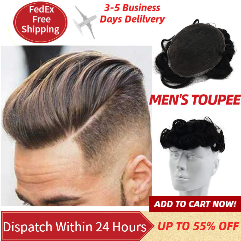 MW Men Swiss Lace Toupee Wig Remy Human Hair Pieces Natural Black 6 Inches 150% Density Topper Wigs FedEx Fast Delivery