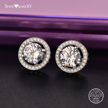 Shipei Moissanite Silver 925 Stud Earrings for Women 100% Sterling Round Wedding Party Birthday Gift