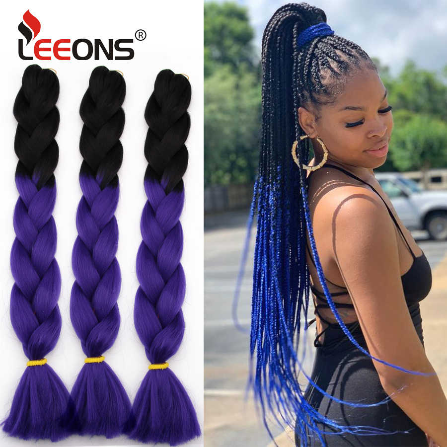 Leeons Cheap And Popular 24 Inch Jumbo Long Crochet Braid Hair Ombre Purple Blonde Green Red Blue Grey Xpression Hair Extension