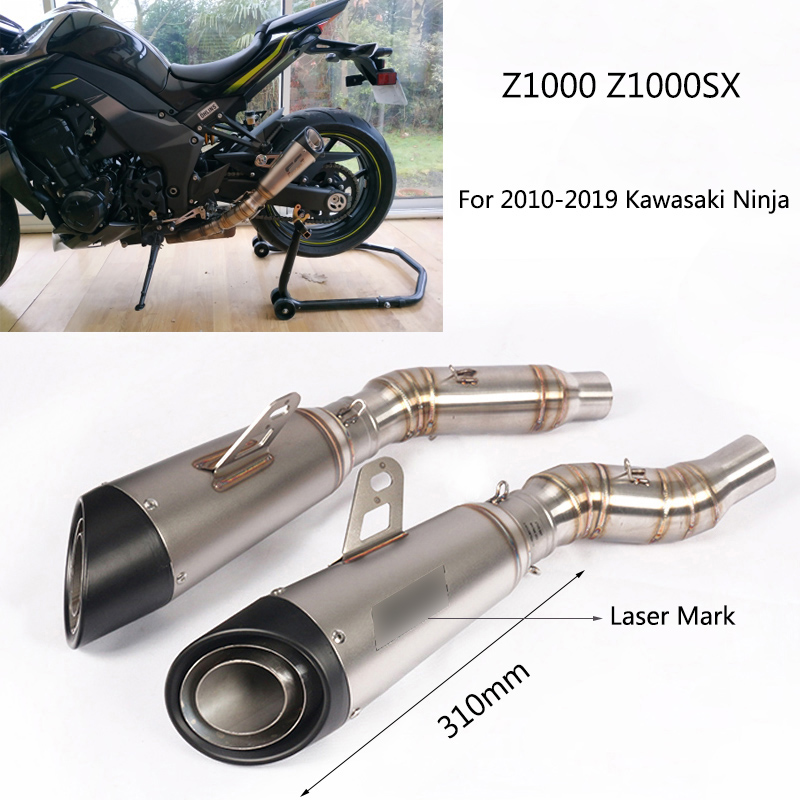 For 2010-2020 Kawasaki Z1000 Motorcycle Exhaust Pipe Slip On Z1000SX Left Right Side Mid Elbow Stainless Steel Tail Escape Tips image
