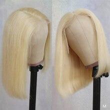 Perruque Bob Lace Wig 613 naturelle brésilienne, cheveux lisses, blond 100%, t-part, pre-plucked, pour femmes africaines