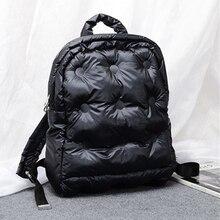 حقيبة ظهر عصرية النسخة الكورية من القطن الفضاء مقاوم للماء حقيبة ظهر دافئة عادية بلون حقيبة ظهر الطالب أسفل السيدات على ظهره