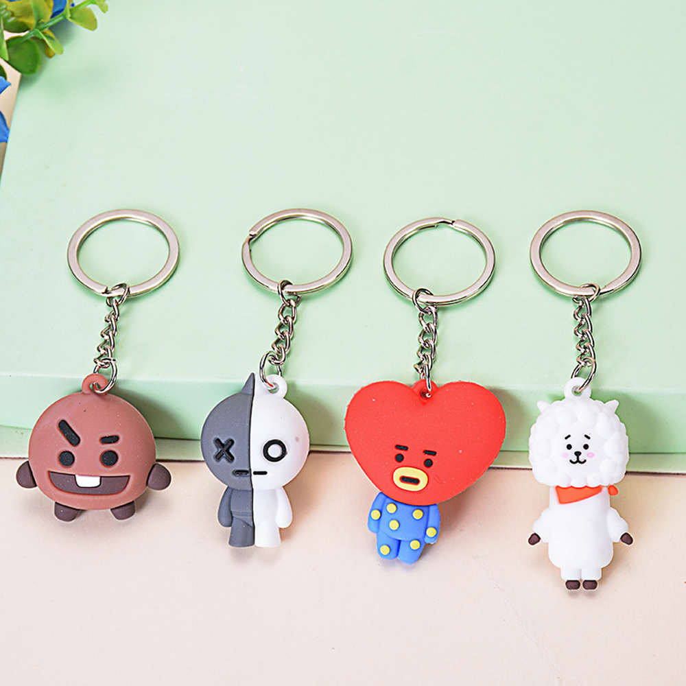 Cute Cartoon Bell Key Chain Bags Keychain Korean Kpop BTS-bangtan Boys Personalized Key Rings For Women Men BTS21 Accessories