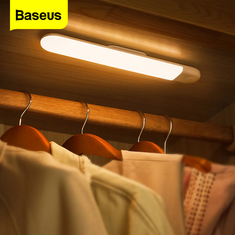 Baseus LED Closet Light PIR Motion Sensor Human Induction Cupboard Wardrobe Lamp Under Cabinet Night Light For Kitchen Bedroom
