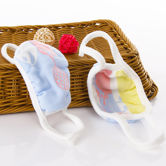 5PCS/lot 6 Layers Gauze Cotton Baby Kids Mask Dustproof Mouth Face Mask Animals Children Face Mouth Masks for Baby 1-12Yea 2