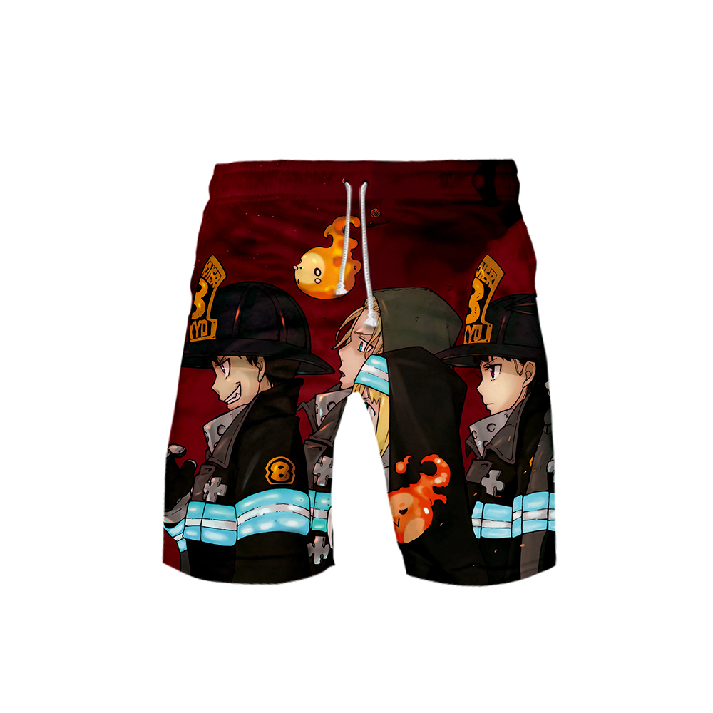 2019 Japanese Fire Fire Brigade Brigade Anime Summer Men's Cartoon Pattern Shorts 3D Printed Fashion Men's Shorts Fitness Pants