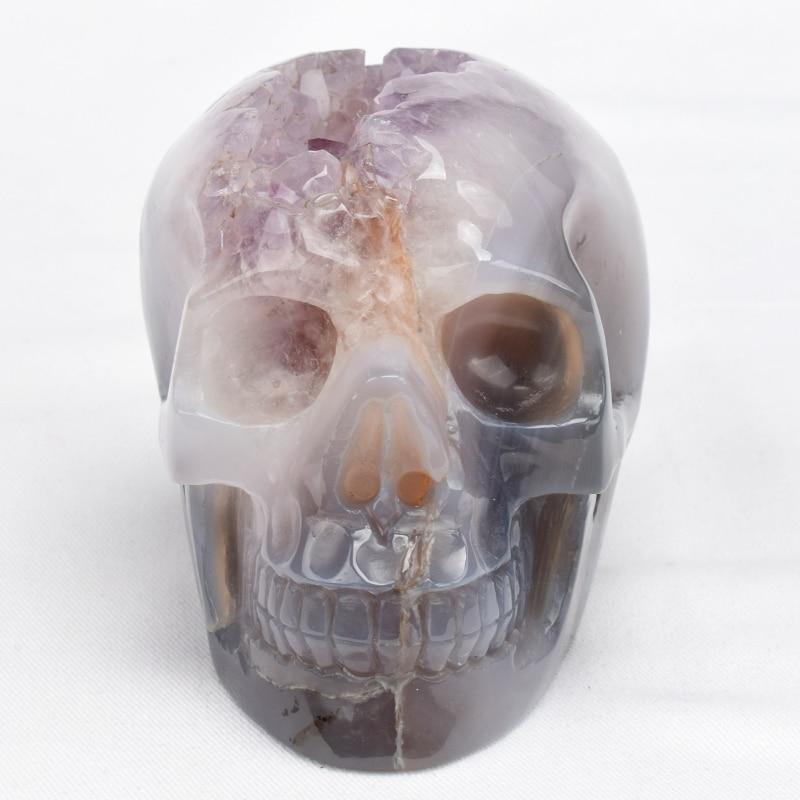 Natural Crystal Quartz Hand Carved Dragon Head Skull Reiki Healing Statue