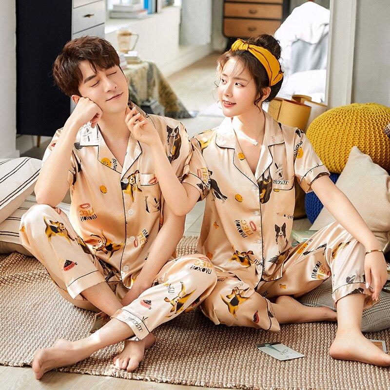 Sexy Satin Couple Pajamas Set Silk Pajamas For Women And Men Lovers Short Sleeved Autumn Pyjamas Sleepwear Sets Pijama Mujer