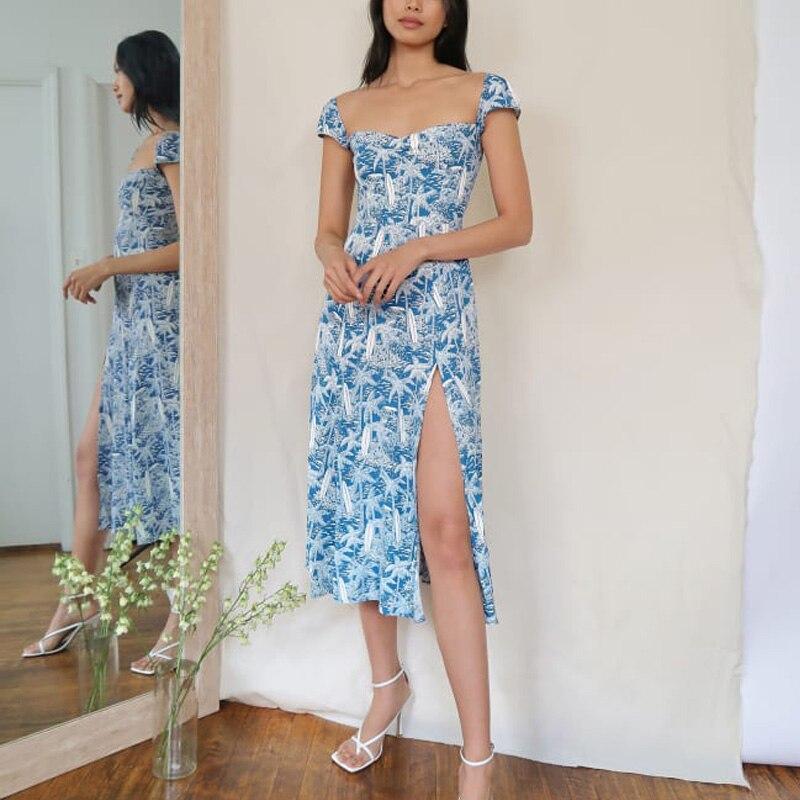 Summer women's dress casual print slim dress Vestidos