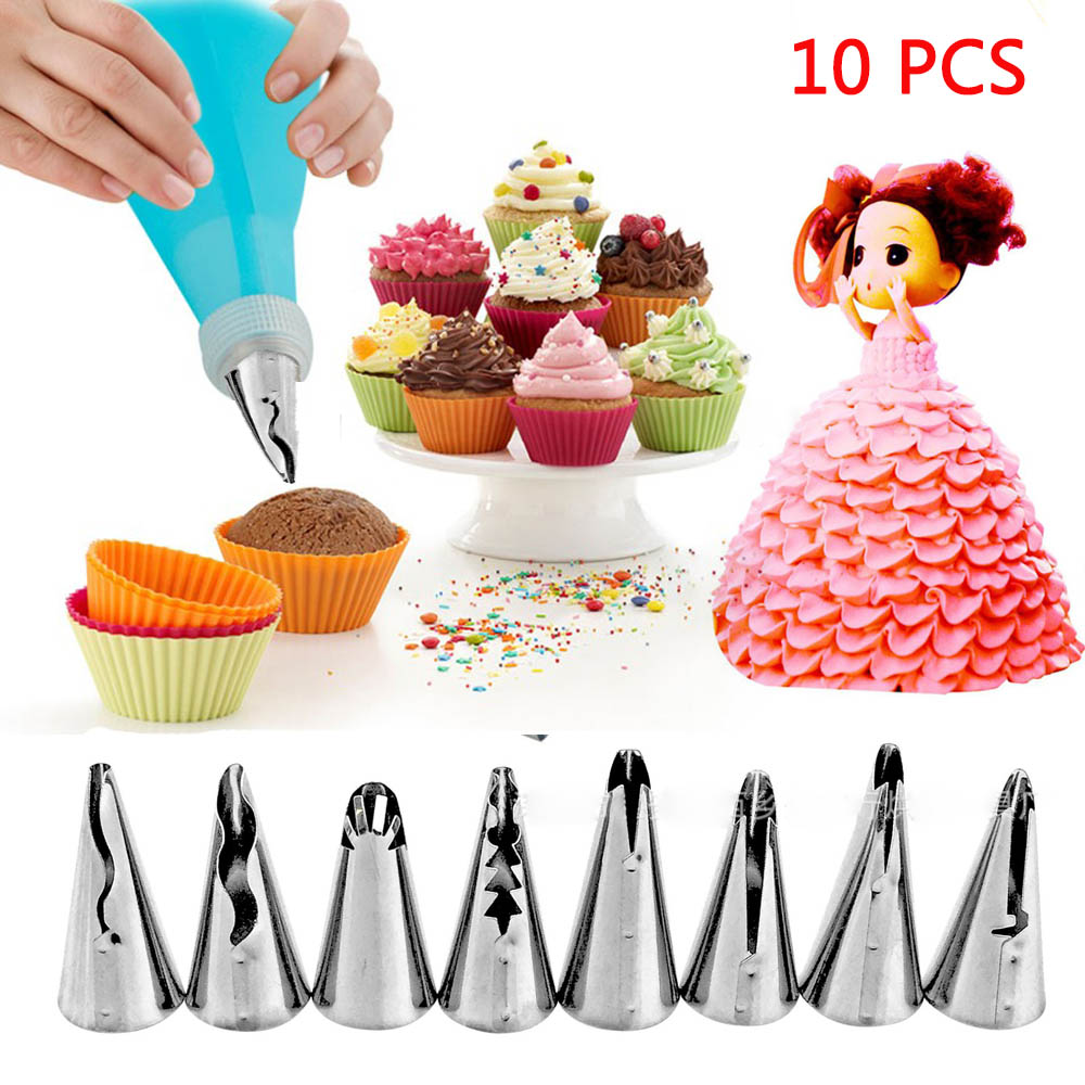 10Pcs/Set Silicone Kitchen Accessories Icing Piping Cream Pastry Bag With 8 Stainless Steel Nozzle DIY Cake Decorating Tips Set