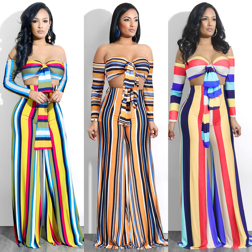 Hot Selling Europe And America-Wrap-around Stripes Bandage Cloth Summer Loose Pants Two-Piece Set S1064