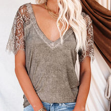 Women T-Shirt Lace Short Sleeve Ladies Pullover t Shirt Party 2021 Summer Tops Sexy V-Neck Casual Top Solid Color Female Tees