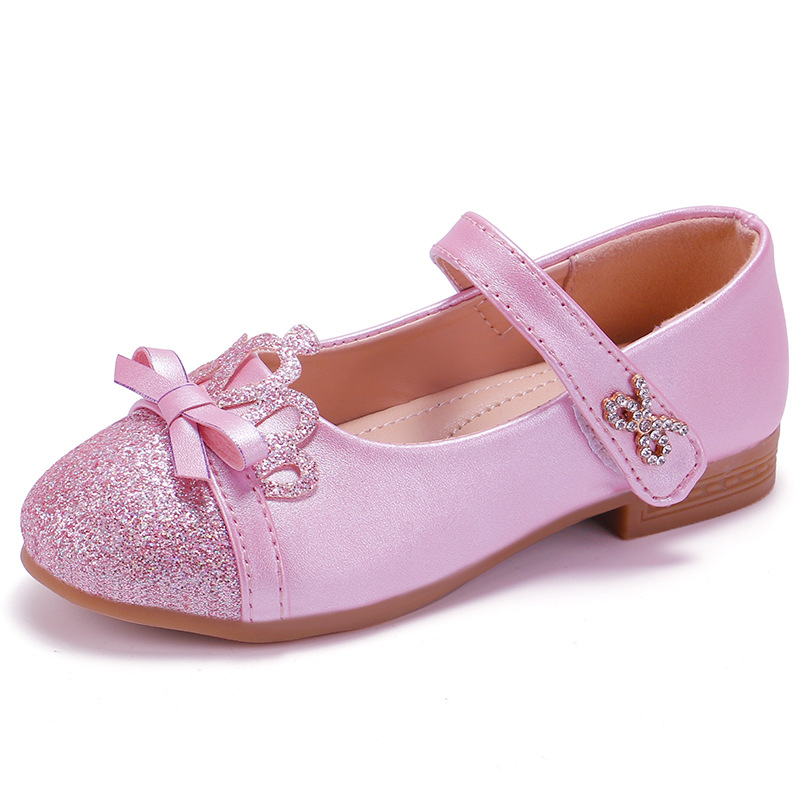 Toddler Girls Ballet Flats Mary Jane Dress Shoes 3-12 Years Old Children Pearl Crystal Bling Bowknot Shoes