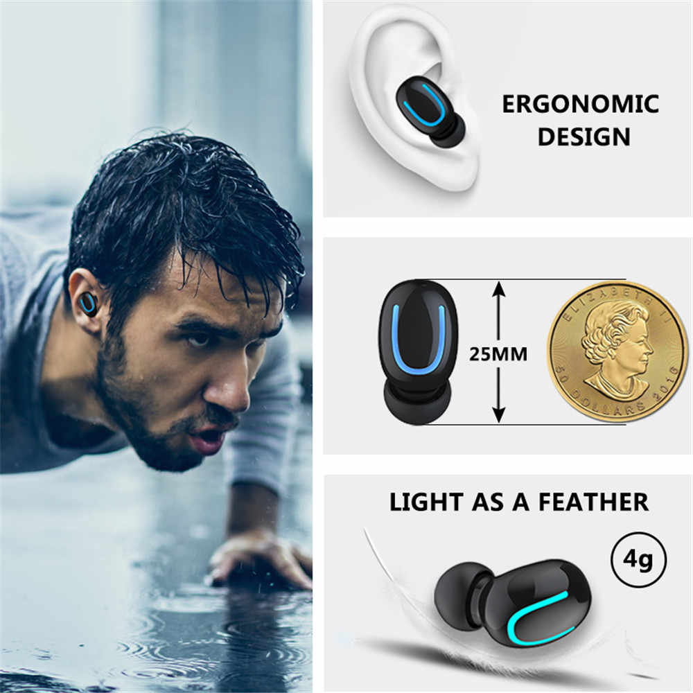 Słuchawki Bluetooth słuchawki słuchawki bezprzewodowe słuchawki Bluetooth bezprzewodowe słuchawki douszne wodoodporne z mikrofonem 1500mAh ładowarka