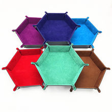 Hexagon Foldable PU Leather Dice Trays Velvet Cloth Desktop Key Wallet Coin Storage Box Tray 18*18cm(China)