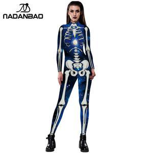 Image 4 - NADANBAO Neue Rose Skeleton Kostüm Overall 3D Drucken Scary Halloween Kostüme Für Frauen Mechanische Schädel Plus Size Body