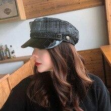 Новинка, винтажные вязаные женские шапки с плоским верхом на осень и зиму, военные шапки с веревкой, кепка газетчика, твидовый клетчатый Модный берет для девочек