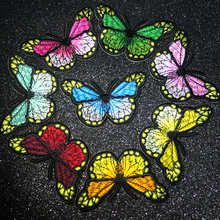 Pulaqi Multicolor Butterfly Patch Embroidered Patches Iron On For Clothing Stickers Badges Clothes Applique Stripes F