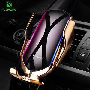 Image 1 - FLOVEME R1 serrage automatique voiture chargeur sans fil 10W chargeur rapide capteur infrarouge voiture support pour téléphone support Qi chargeur sans fil