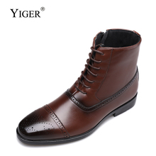 YIGER New men Martins boots Large size high-top man Bullock Mens Boots lace-up leather male causal martins bots black 352