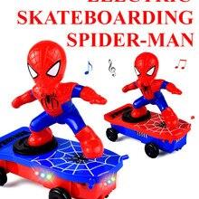 Электрический самокат-трюк Человек-паук, Универсальный вращающийся кувыркающийся звуковой светильник, автоматическая ходьба, не может упасть, Детские Мультяшные игрушки