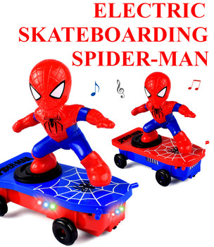 Fun cartoon spider-man 360 degree spin stunt scooter roll without wrestling sound lamp automatic walking doll children toy gift.