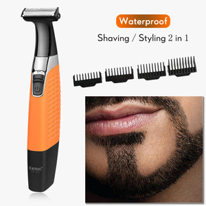 Kemei USB Body Shaving Machine Fast Feed Face Eyebrow Underarm Leg Cutter Electric Razor One Blade Travel Men Beard Shaver