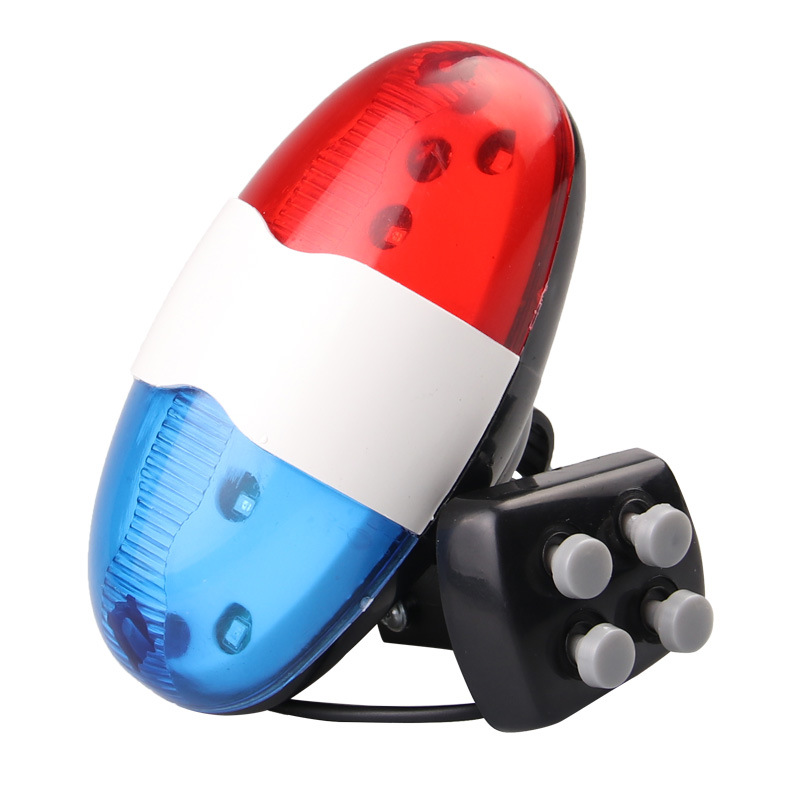 Bicycle Bell 6 LED 4 Tone Bicycle Horn Bike Call LED Bike Police Light Electronic Loud Siren Kid Accessories Bike Scooter MTB