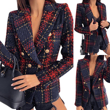 Autumn Winter Short Plaid Coat Red blue Check Suit Will Code Self-cultivation Thin Checkered Tweed C