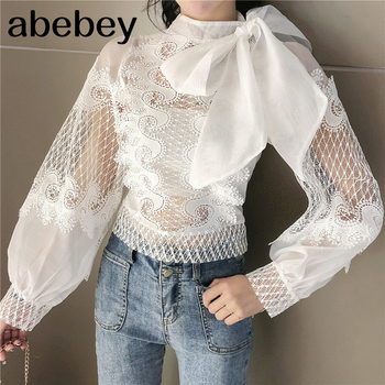 Womens Shirts Blouse Stand Collar Long Sleeve Hollow Out Patchwork Lace Tops Female 2020 Spring Elegant Fashion