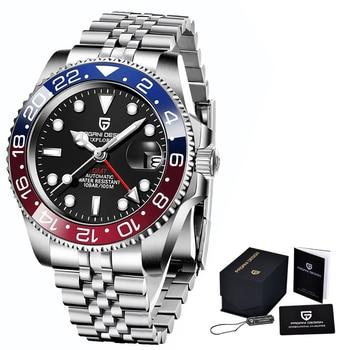 2020 New PAGANI DESIGN Luxury Men GMT Automatic Machinery Watch 40MM Ceramic bezel Jubilee Strap Sapphire 100M Waterproof Clock - Blue red