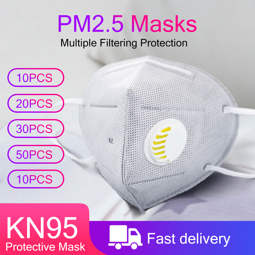 N95 Mouth Masks Face Mask 6 Layers Filter Anti Dust Filter PM2.5 KN95 Respirator FFP2 Nonwoven With Valve