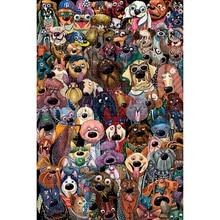 مايكل أنجلو خشبية بازل قطع 500 1000 1500 2000 قطع الكلب مجموعة صور الكرتون الحيوانات طفل لعبة تعليمية اللوحة ديكور
