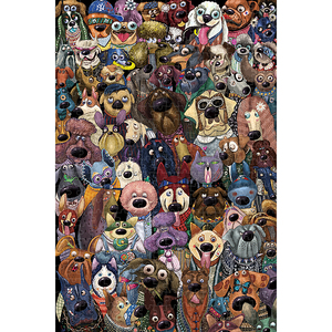 Image 1 - Michelangelo Wooden Jigsaw Puzzle 500 1000 1500 2000 Pieces Dogs Group Photo Cartoon Animals Kid Educational Toy Painting Decor